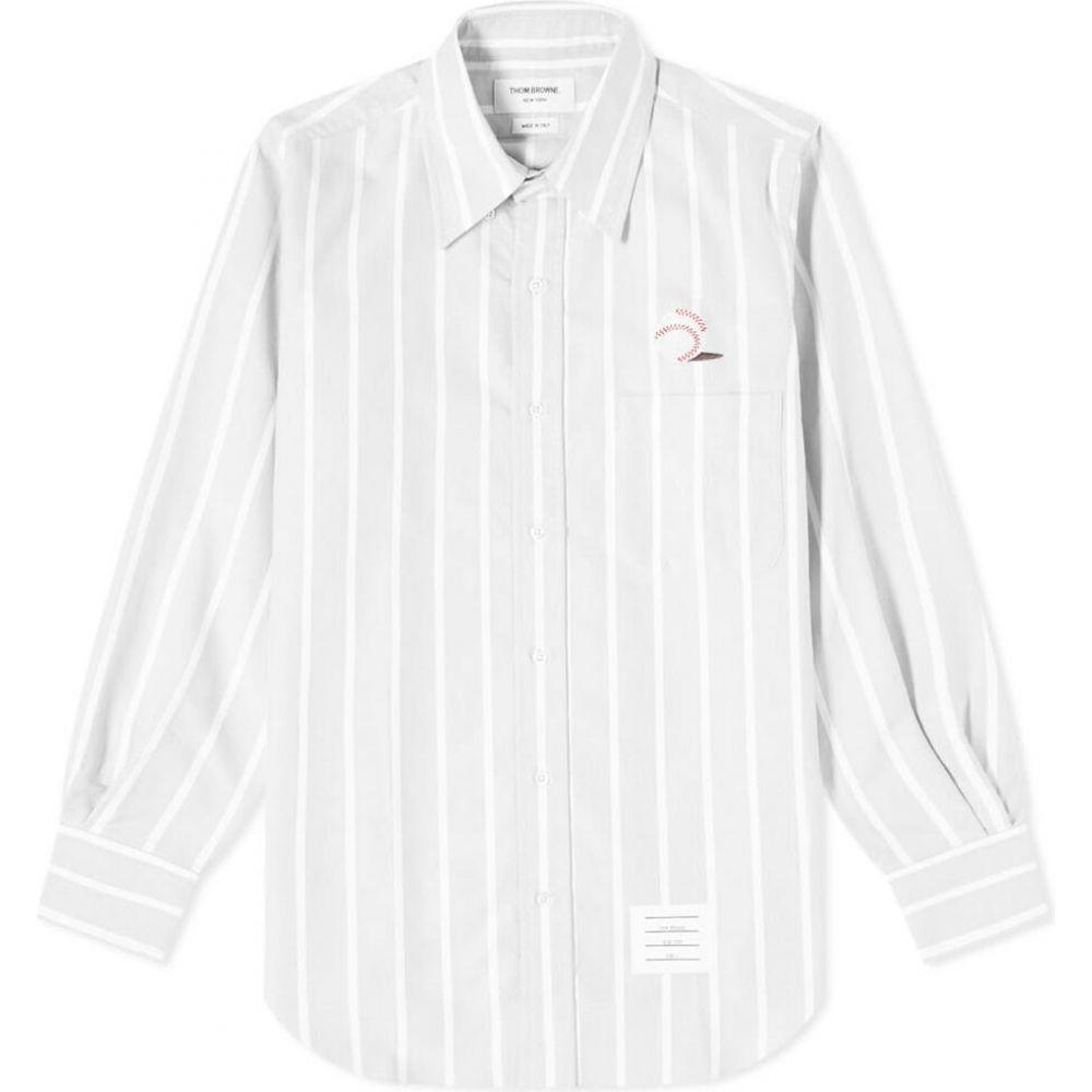 トム ブラウン Thom Browne メンズ シャツ トップス【Baseball Icon Button Down Stripe Oxford Shirt】Medium Grey