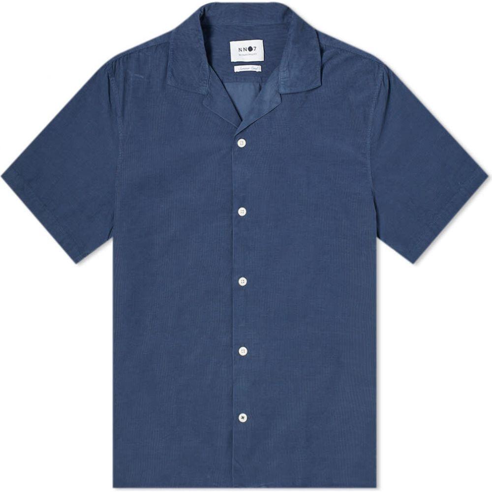 NN07 メンズ 半袖シャツ トップス【Miyagi Baby Cord Vacation Shirt】Indigo Blue