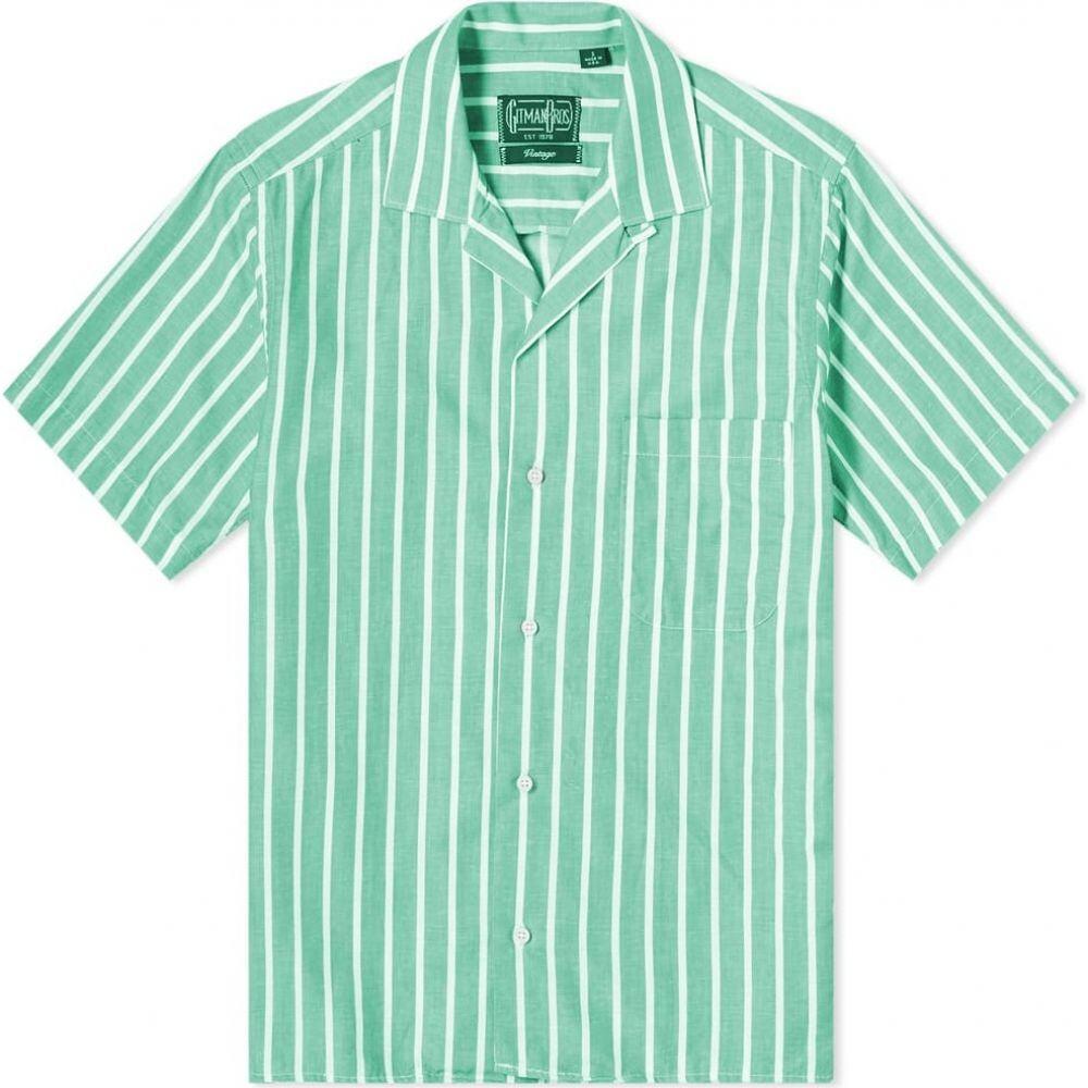 ギットマンヴィンテージ Gitman Vintage メンズ 半袖シャツ トップス【Camp Collar Awning Stripe Shirt】Green