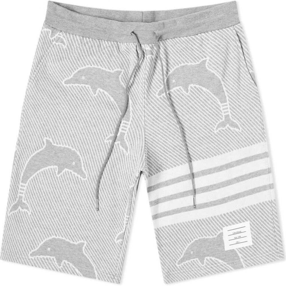 トム ブラウン Thom Browne メンズ ショートパンツ ボトムス・パンツ【Dolphin Jacquard Four Bar Sweat Short】Light Grey