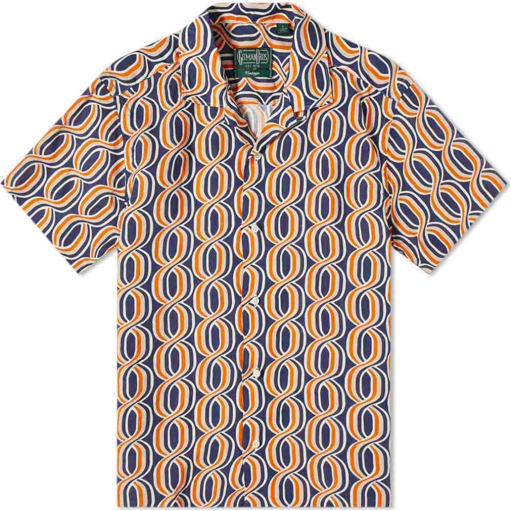 ギットマンヴィンテージ Gitman Vintage メンズ 半袖シャツ トップス【Camp Collar Gio Ponti Linen Helix】Orange