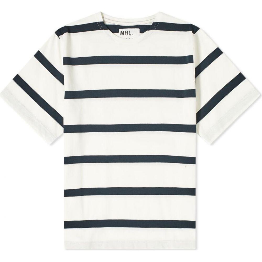 エムエイチエル MHL by Margaret Howell メンズ Tシャツ トップス【MHL. by Margaret Howell Matelot Stripe Tee】Off White/String