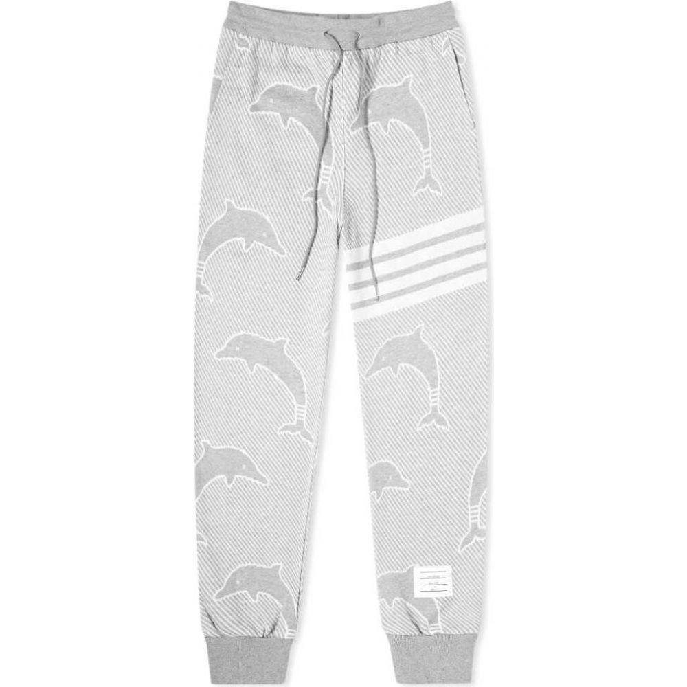 トム ブラウン Thom Browne メンズ スウェット・ジャージ ボトムス・パンツ【Dolphin Jacquard Four Bar Sweat Pant】Light Grey
