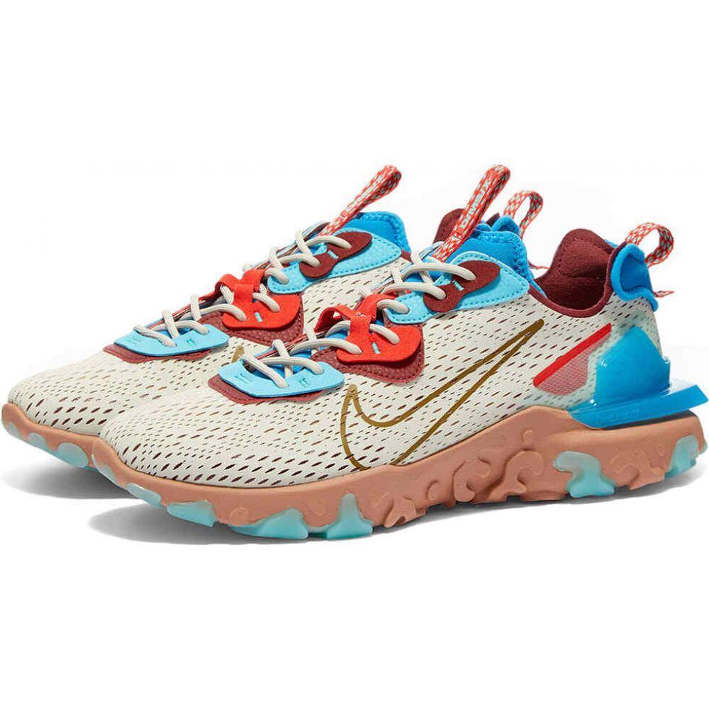 ナイキ Nike メンズ スニーカー シューズ・靴【React Vision】Light Bone/Blue/Red