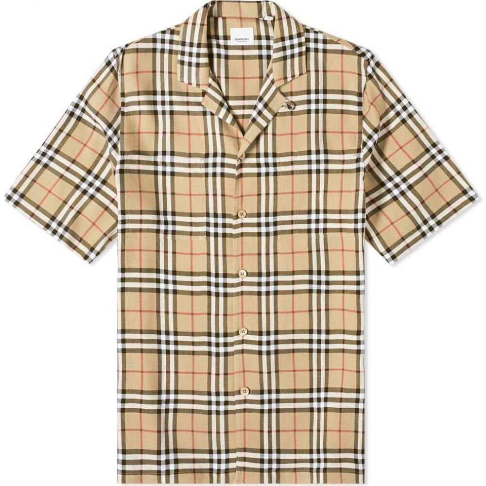 バーバリー Burberry メンズ 半袖シャツ トップス【Raymouth Check Vacation Shirt】Archive Beige