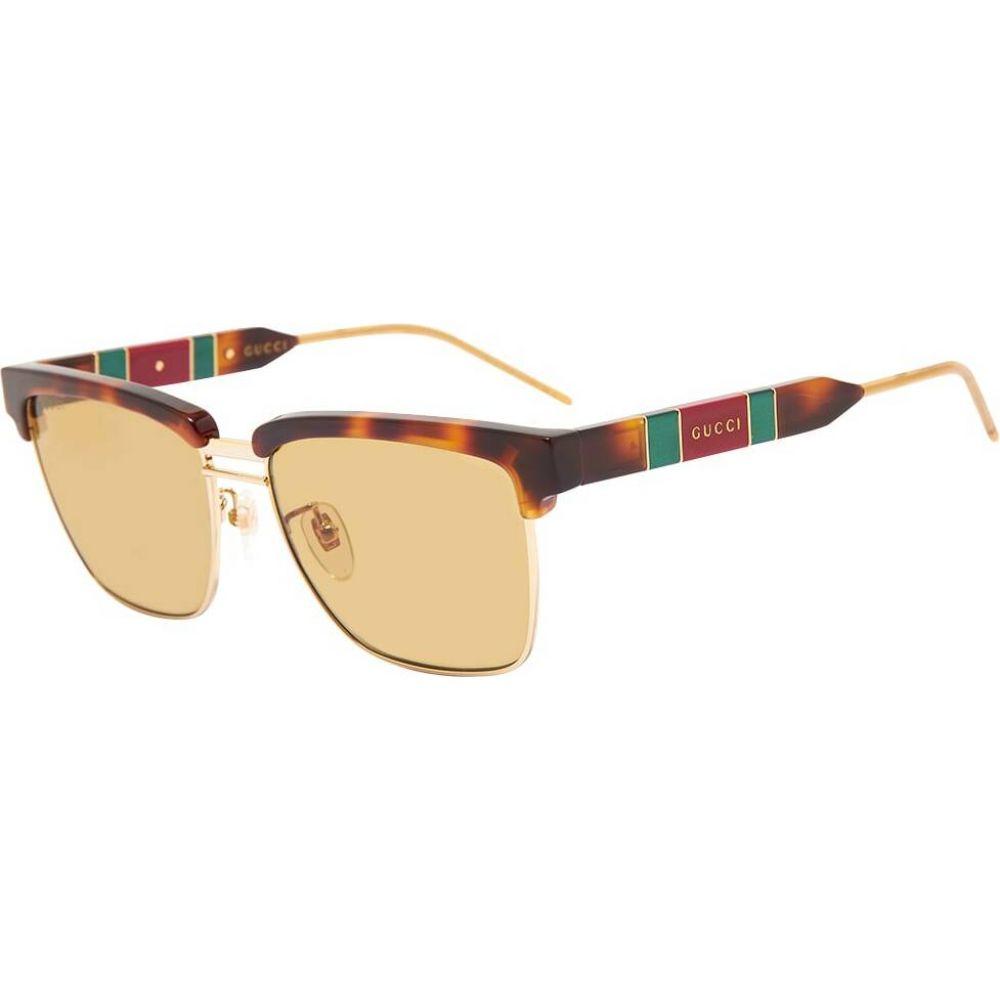 グッチ Gucci Eyewear メンズ メガネ・サングラス 【Gucci Sophisticated Web Sunglasses】Havana/Brown