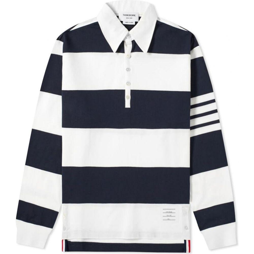 トム ブラウン 大幅にプライスダウン ギフ_包装 メンズ トップス ポロシャツ Navy サイズ交換無料 Browne Oversized Shirt Rugby Thom 4 Bar