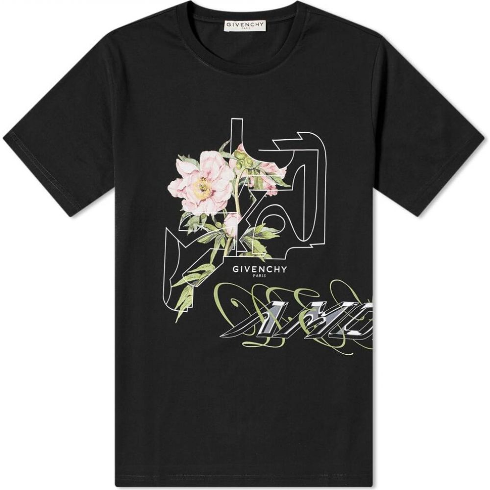 ジバンシー Givenchy メンズ Tシャツ トップス【Peony Print Tee】Black