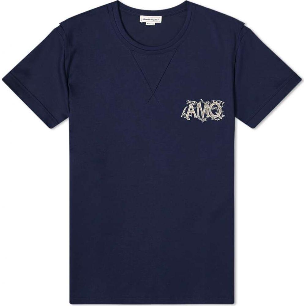 アレキサンダー マックイーン Alexander McQueen メンズ Tシャツ ロゴTシャツ トップス【AMQ Ivy Logo Tee】Navy