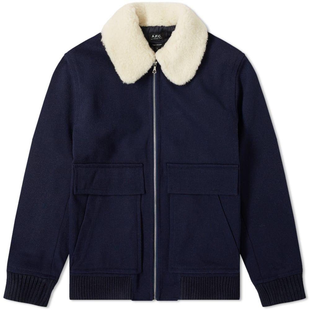 アーペーセー A.P.C. メンズ ブルゾン フライトジャケット アウター【bronze wool flight jacket】Navy