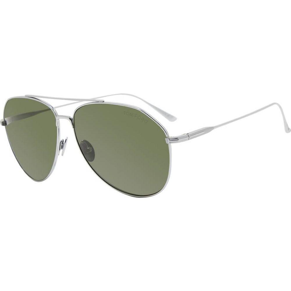 トム フォード Tom Ford Eyewear メンズ メガネ・サングラス アビエイター【Tom Ford FT0747 Aviator Sunglasses】Shiny Palladium/Green