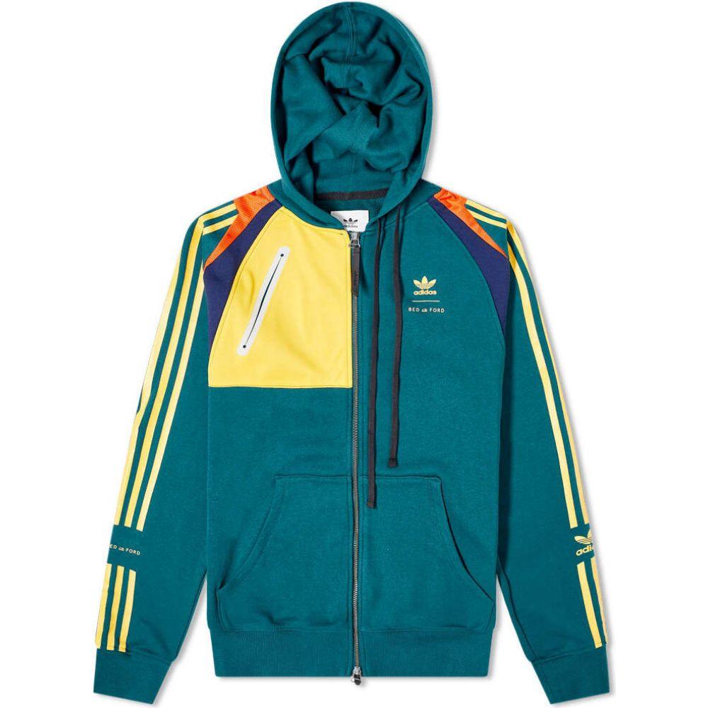 アディダス Adidas Consortium メンズ パーカー トップス【x Bed JW Ford Zip Hoody】Rich Green/Yellow