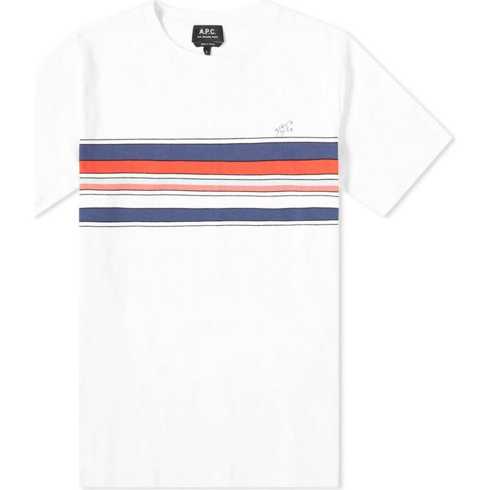 アーペーセー A.P.C. メンズ Tシャツ ロゴTシャツ トップス【Gaston Stripe Logo Tee】White/Red/Navy