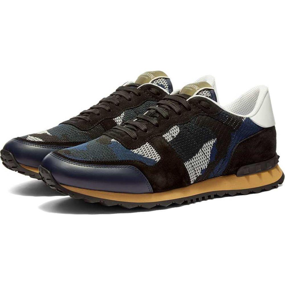 ヴァレンティノ Valentino メンズ スニーカー シューズ・靴【Knit Rockrunner Sneaker】Navy/Black/White