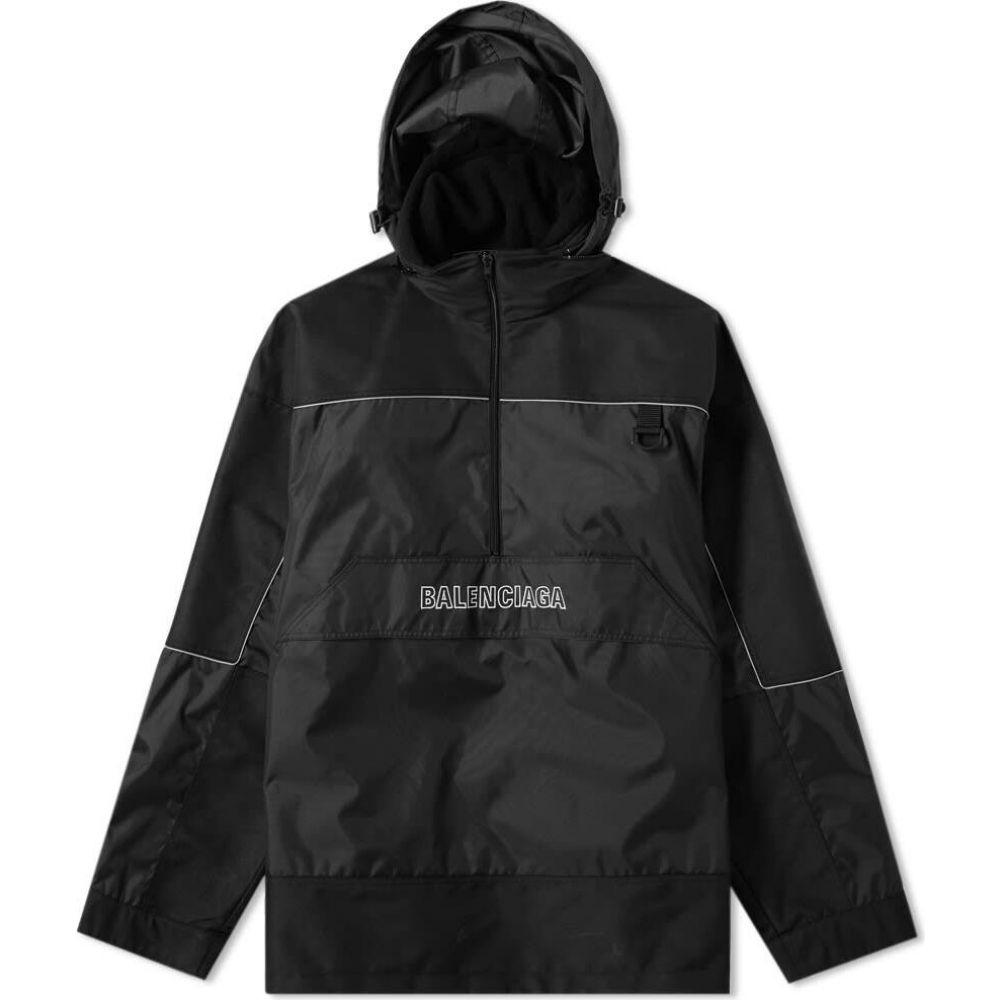 バレンシアガ Balenciaga メンズ ジャケット ハーフジップ ウィンドブレーカー アウター【quarter zip logo windbreaker jacket】Black