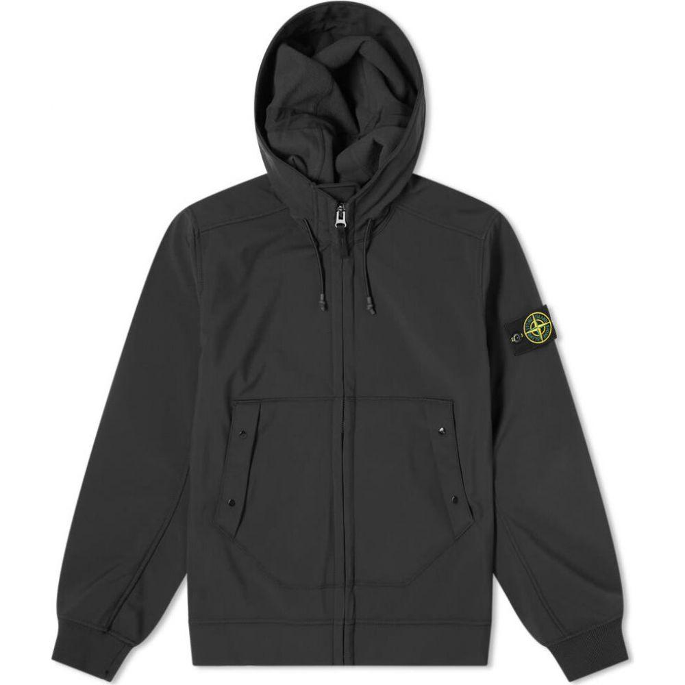 ストーンアイランド Stone Island メンズ ジャケット フード ソフトシェルジャケット アウター【hooded softshell jacket】Black