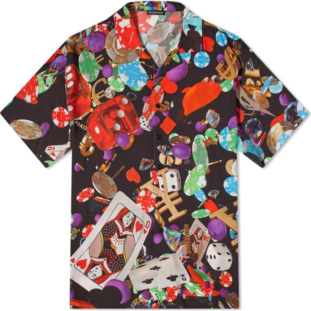 バレンシアガ Balenciaga メンズ 半袖シャツ トップス【oversize casino print vacation shirt】Red