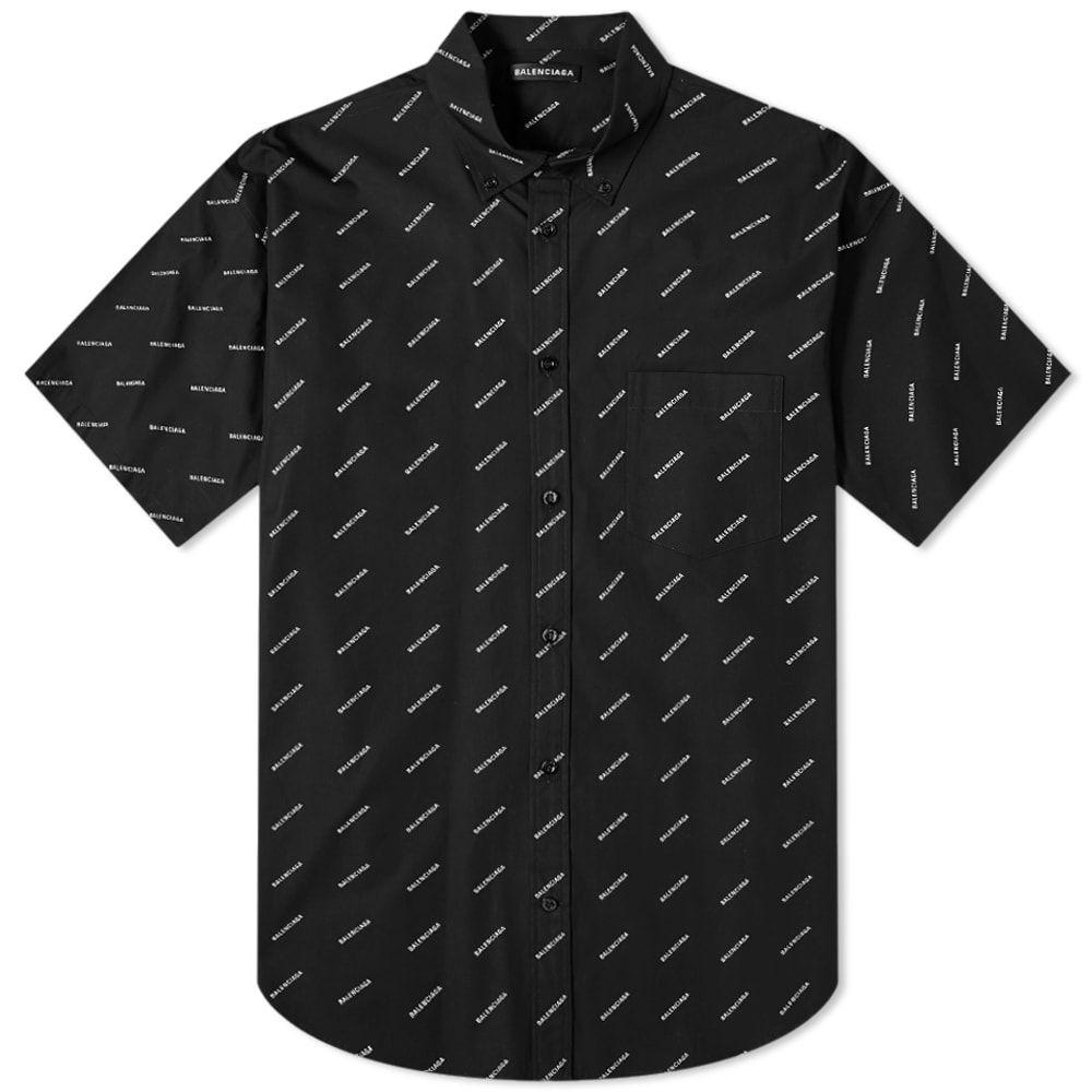 バレンシアガ Balenciaga メンズ 半袖シャツ トップス【short sleeve all over print shirt】Black/White