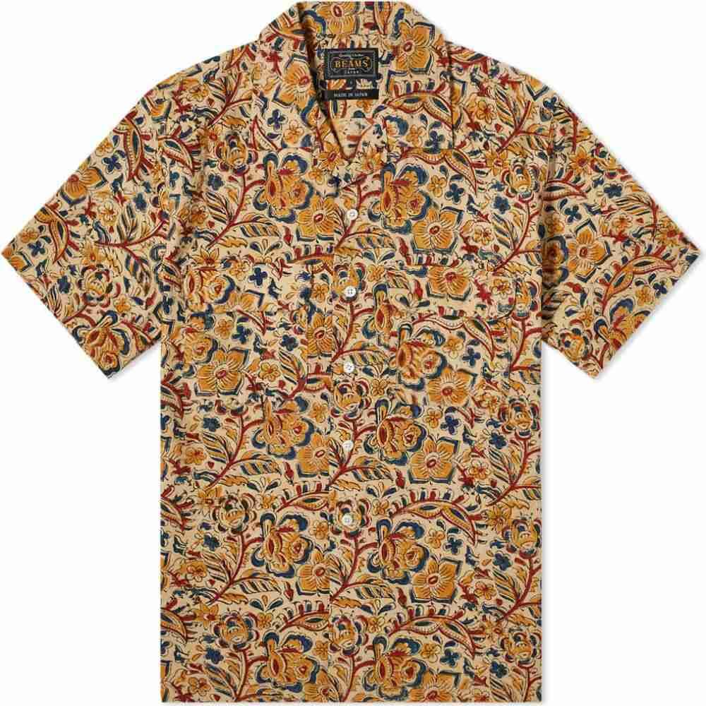 ビームス プラス Beams Plus メンズ 半袖シャツ トップス【short sleeve open collar block print shirt】Beige