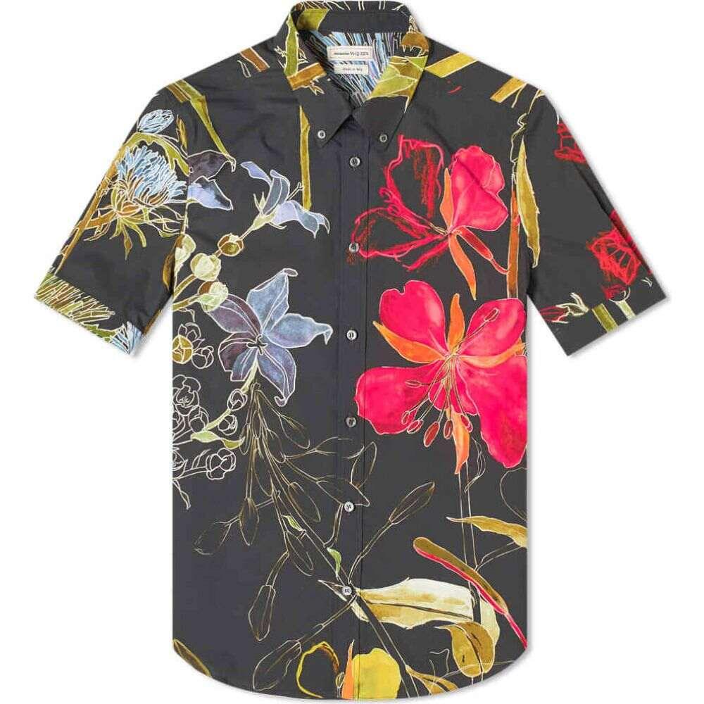 アレキサンダー マックイーン Alexander McQueen メンズ 半袖シャツ トップス【short sleeve floral shirt】Black Mix