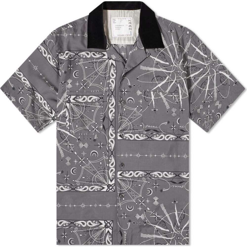 サカイ Sacai メンズ 半袖シャツ トップス【short sleeve dr. woo bandana shirt】Grey