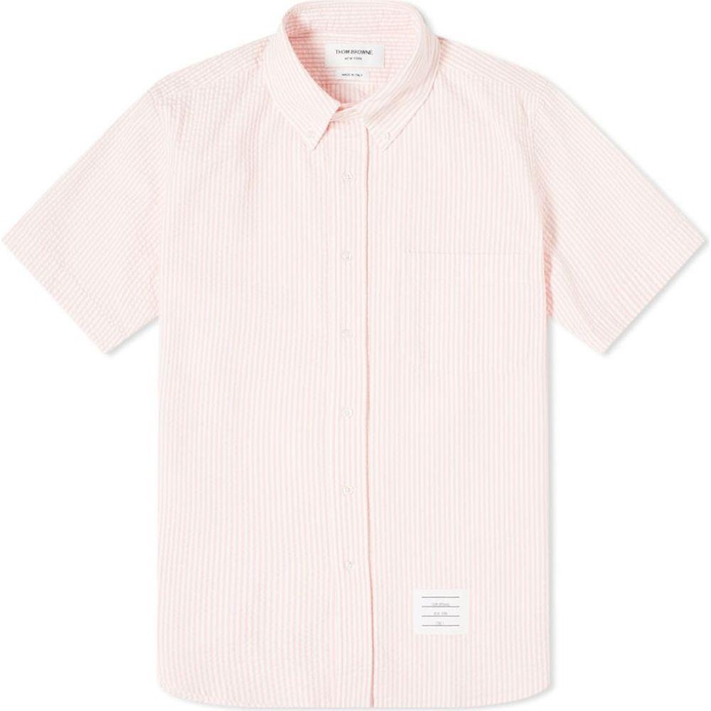 トム ブラウン Thom Browne メンズ 半袖シャツ トップス【button down seersucker short sleeve shirt】Light Pink