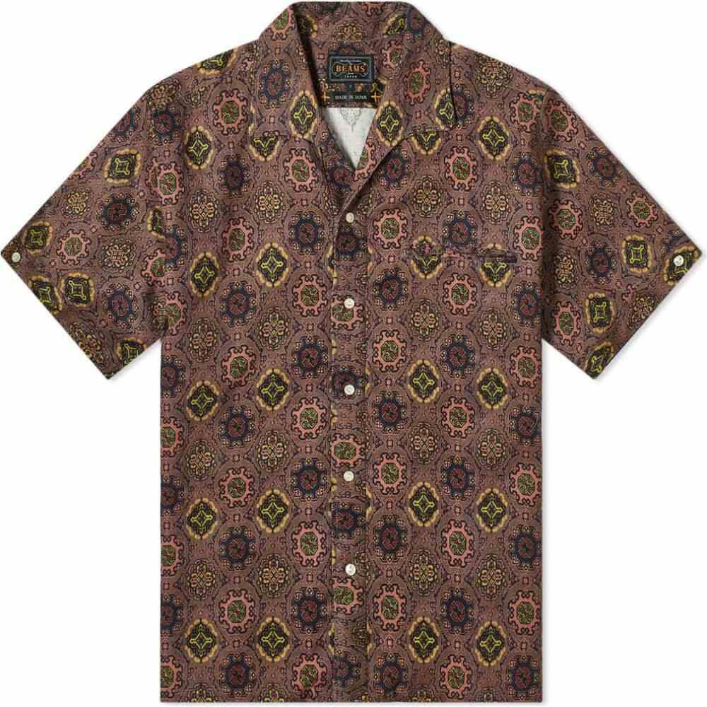 ビームス プラス Beams Plus メンズ 半袖シャツ トップス【short sleeve italian collar print batik shirt】Pink