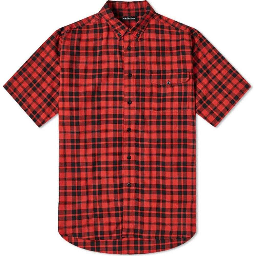 バレンシアガ Balenciaga メンズ 半袖シャツ トップス【short sleeve back logo pocket shirt】Red/Black