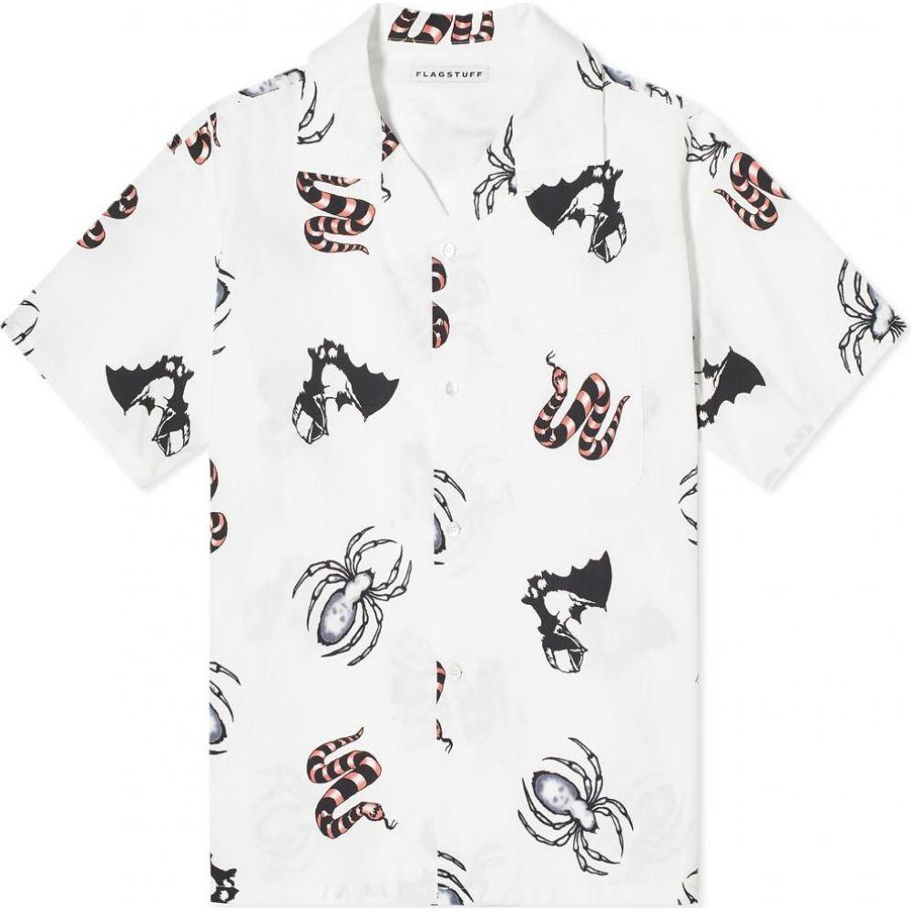 フラグスタフ Flagstuff メンズ 半袖シャツ トップス【tattoo vacation shirt】White