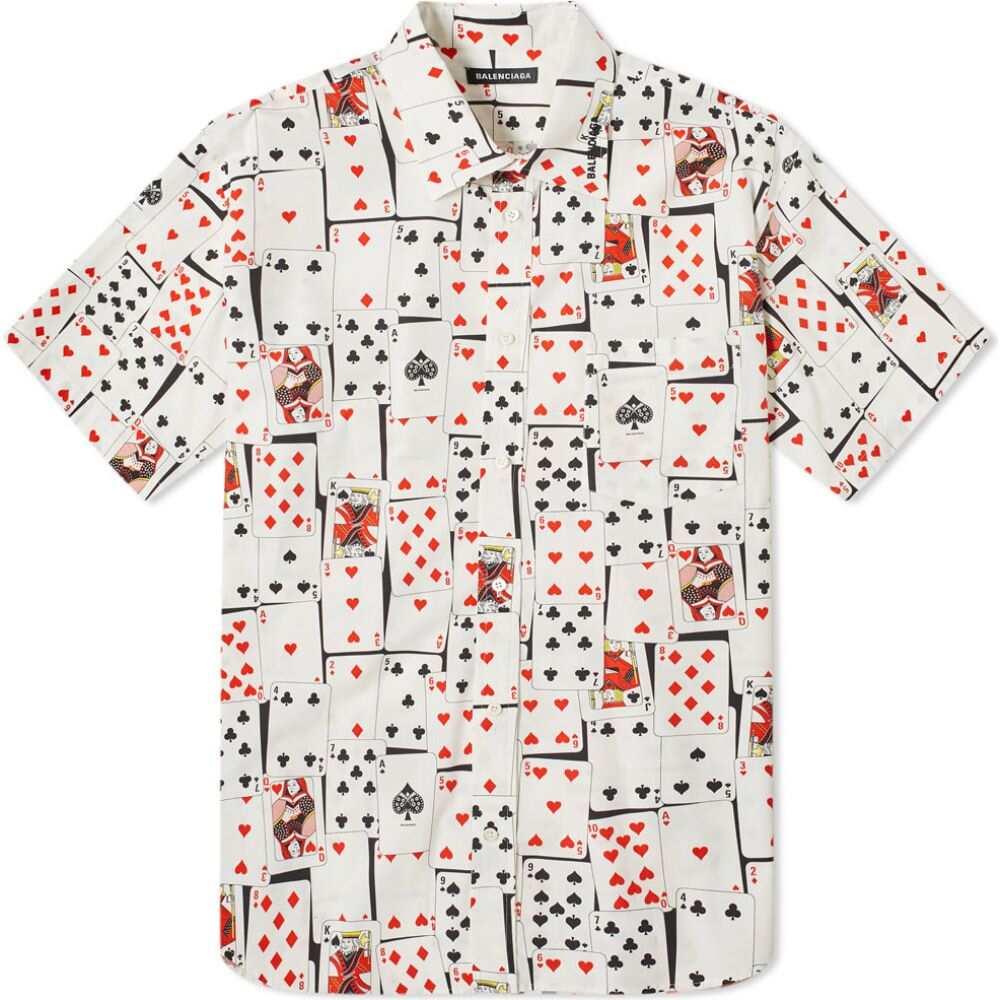 バレンシアガ Balenciaga メンズ 半袖シャツ トップス【short sleeve card print shirt】Black/White/Red