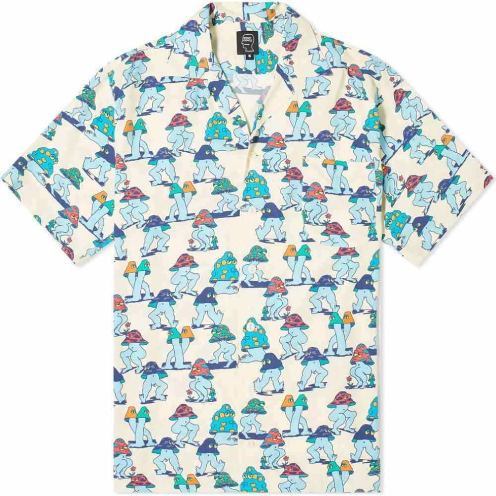 ブレインデッド Brain Dead メンズ 半袖シャツ アロハシャツ トップス【mushroom hawaiian shirt】Natural