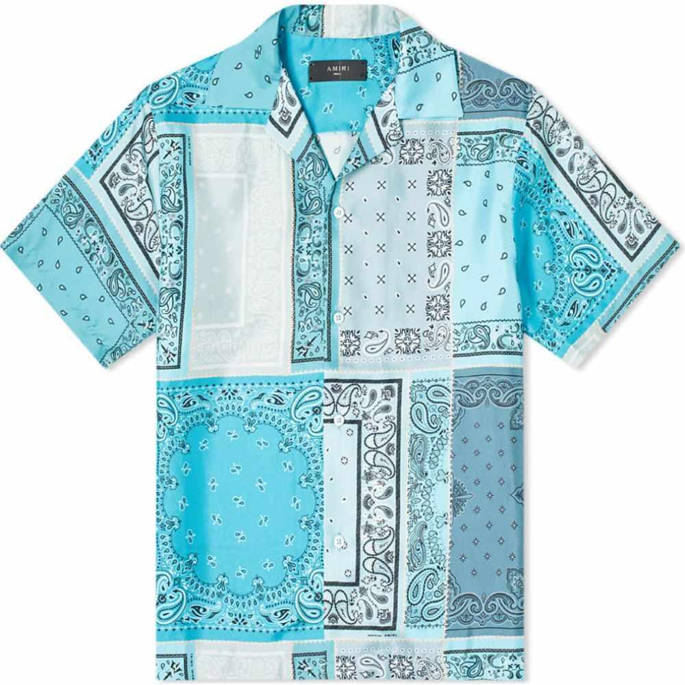 アミリ AMIRI メンズ 半袖シャツ トップス【short sleeve reconstructed silk bandana shirt】Aqua
