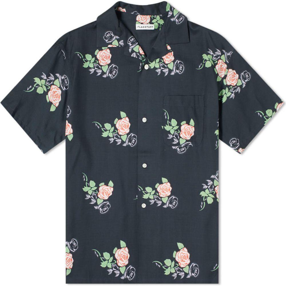 フラグスタフ Flagstuff メンズ 半袖シャツ トップス【rose print vacation shirt】Black