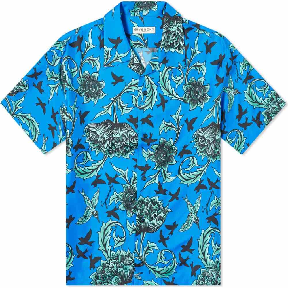 ジバンシー Givenchy メンズ 半袖シャツ アロハシャツ トップス【aqua floral print hawaiian silk shirt】Electric Blue