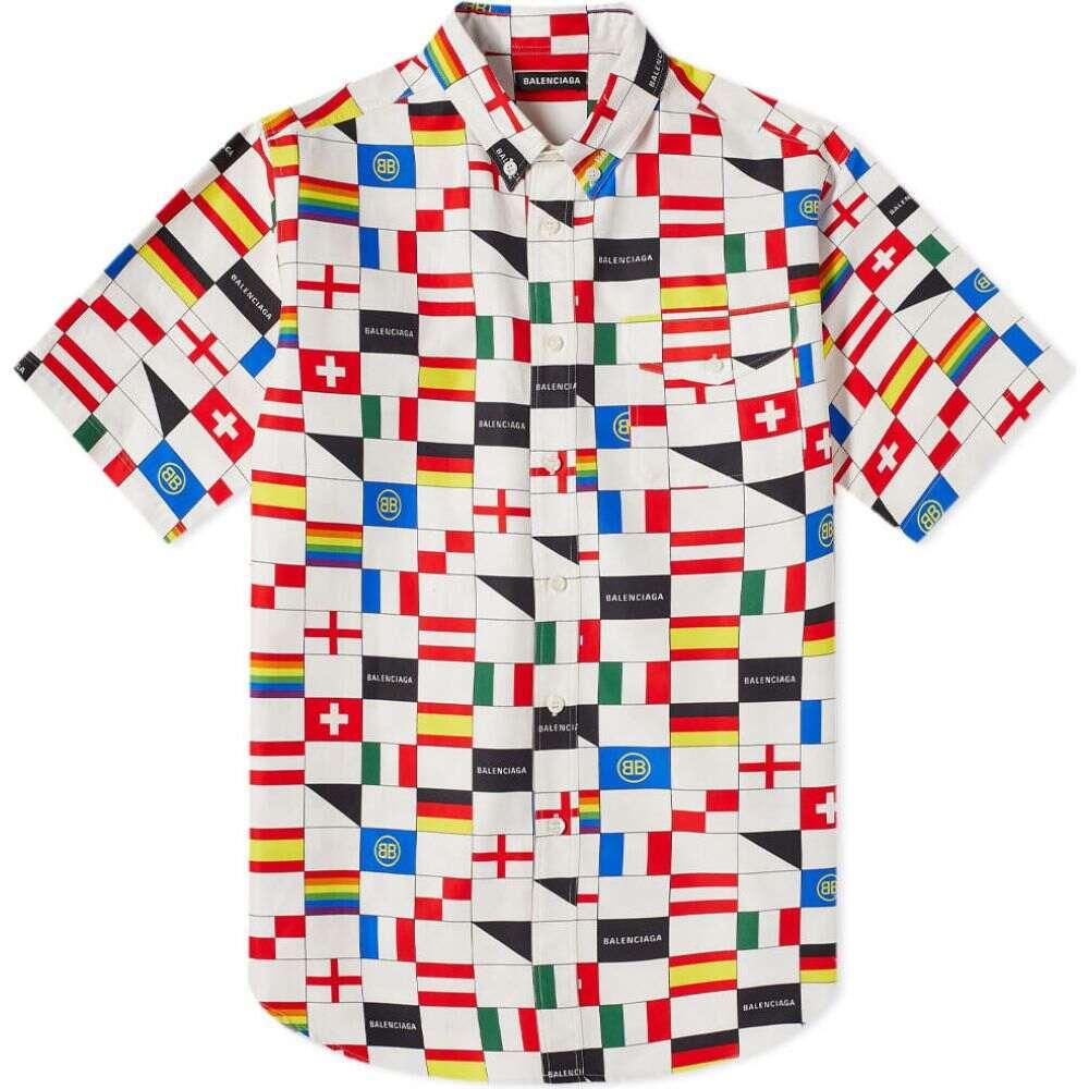 バレンシアガ Balenciaga メンズ 半袖シャツ トップス【short sleeve flags pocket shirt】White/Red/Blue