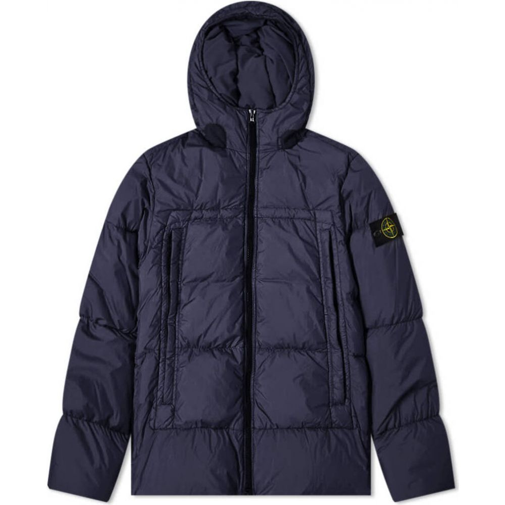 ストーンアイランド Stone Island メンズ ダウン・中綿ジャケット フード アウター【crinkle reps hooded down jacket】Navy