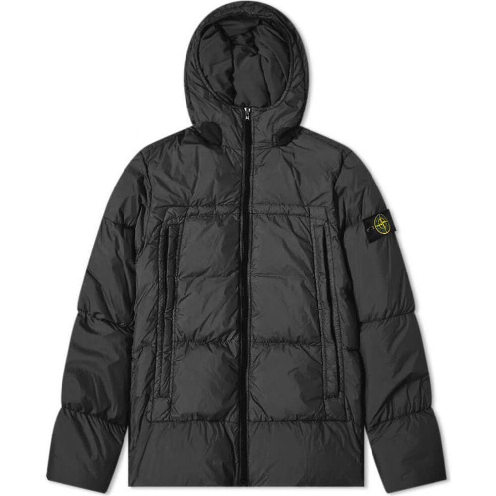 ストーンアイランド Stone Island メンズ ダウン・中綿ジャケット フード アウター【crinkle reps hooded down jacket】Black
