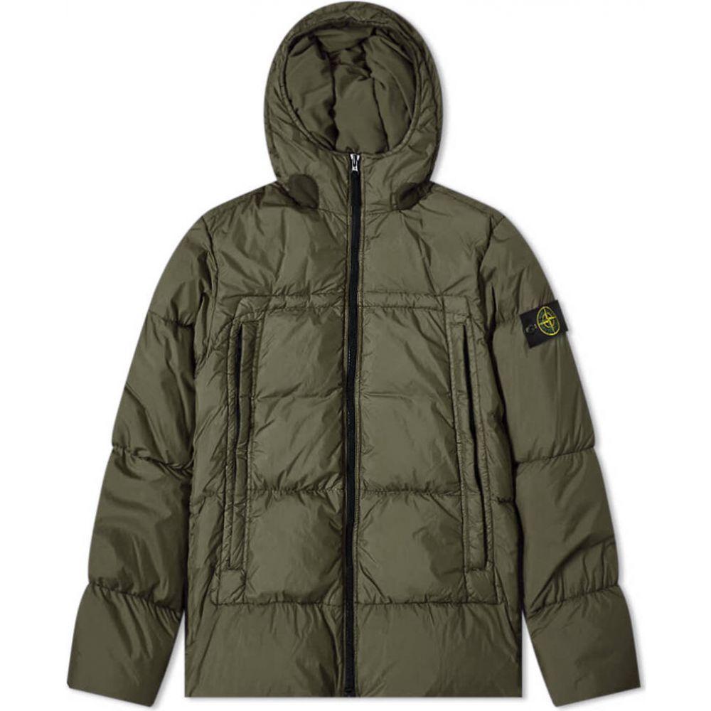 ストーンアイランド Stone Island メンズ ダウン・中綿ジャケット フード アウター【crinkle reps hooded down jacket】Dark Green