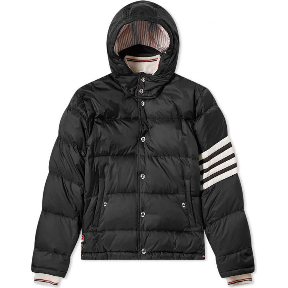 トム ブラウン Thom Browne メンズ ダウン・中綿ジャケット フード アウター【four bar hooded down jacket】Black