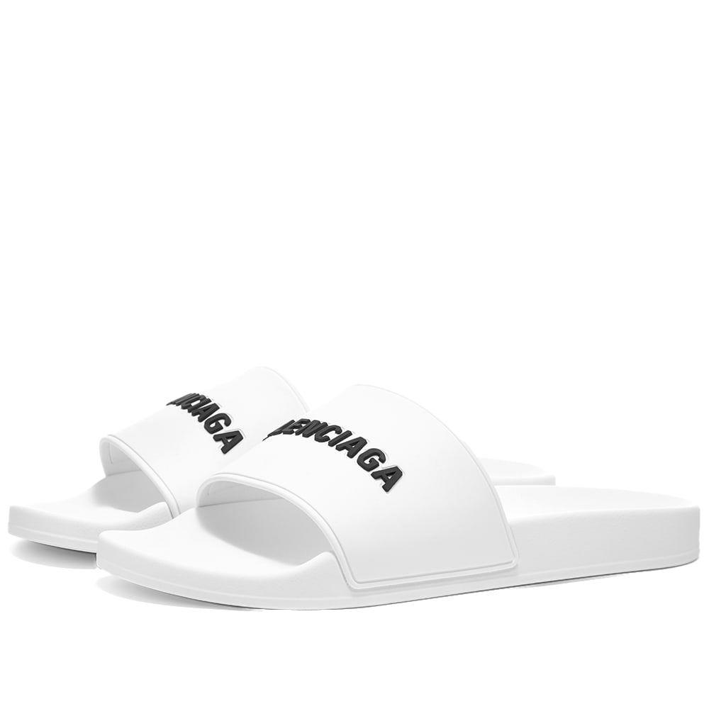 バレンシアガ Balenciaga メンズ サンダル シューズ・靴【logo pool slide】White Black