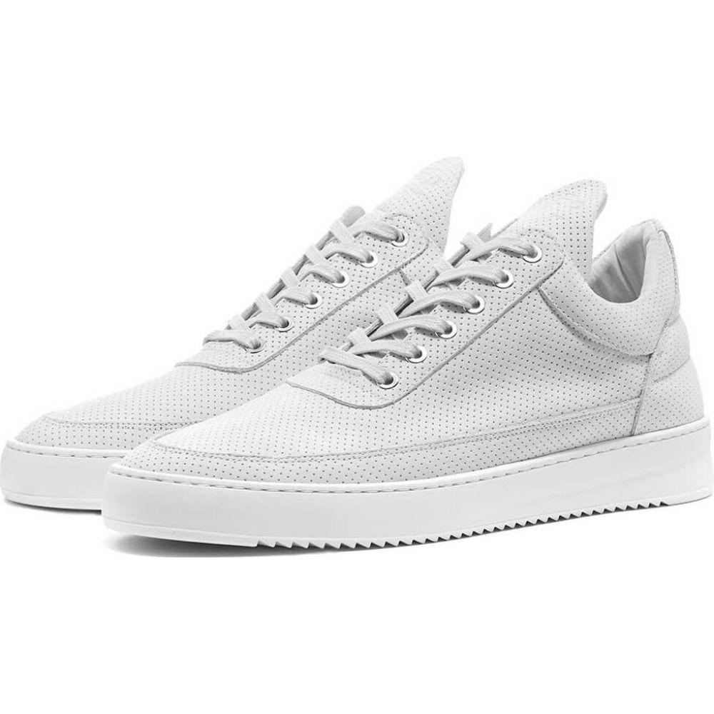 フィリング ピース Filling Pieces メンズ スニーカー ローカット シューズ・靴【low ripple nubuck perforated sneaker】White
