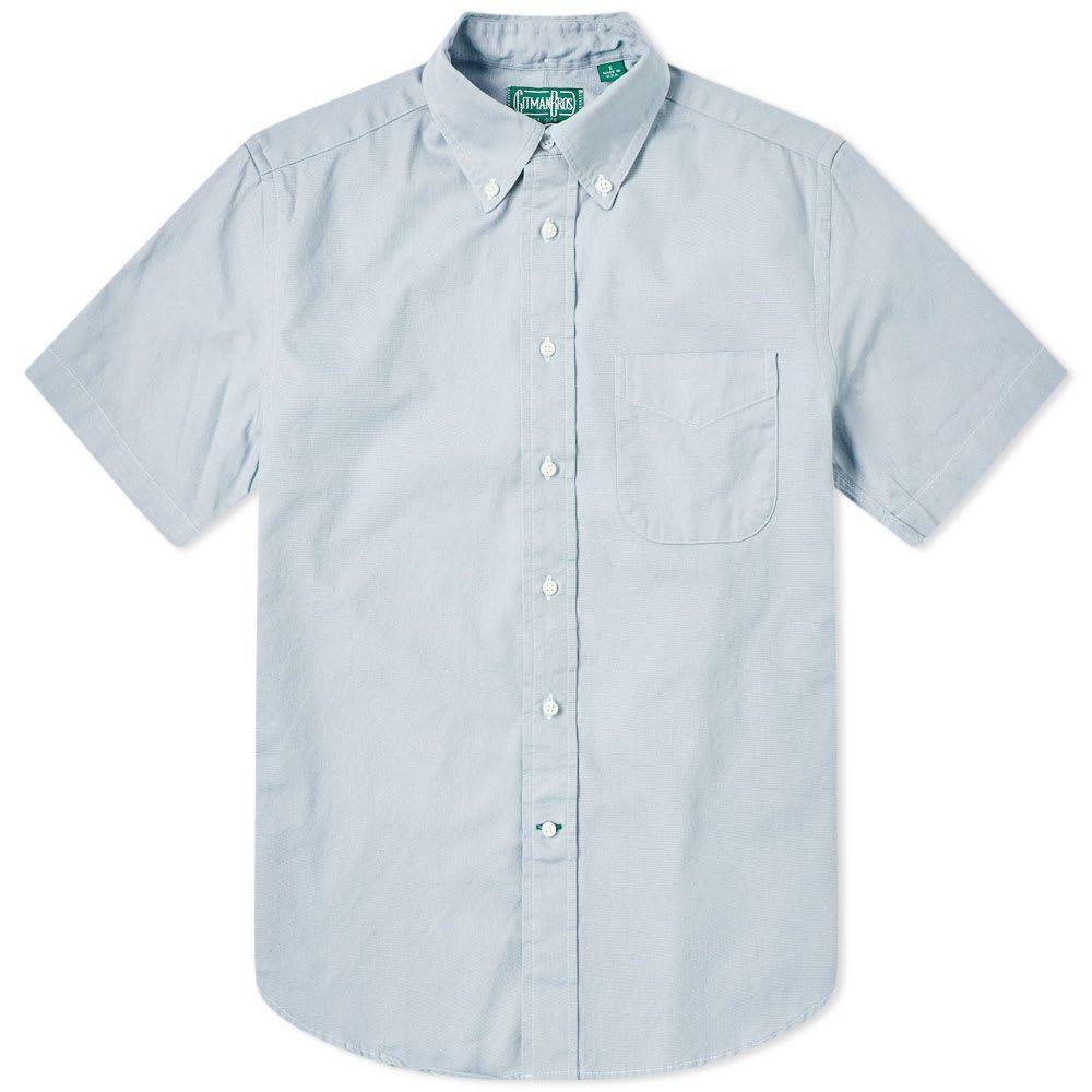 ギットマンヴィンテージ Gitman Vintage メンズ 半袖シャツ トップス【short sleeve spring oxford shirt】Blue