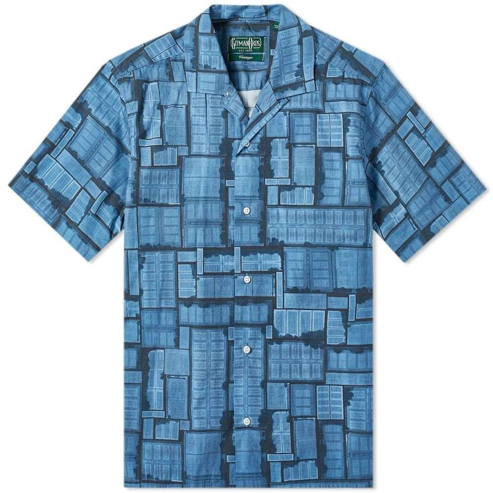 ギットマンヴィンテージ Gitman Vintage メンズ 半袖シャツ トップス【short sleeve camp collar overdyed courts shirt】Navy Blue