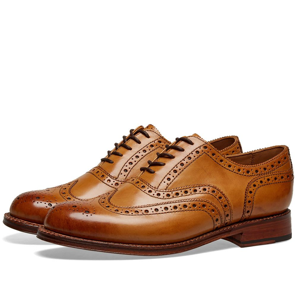 グレンソン Grenson メンズ シューズ・靴 革靴・ビジネスシューズ【Stanley Brogue】Tan Calf