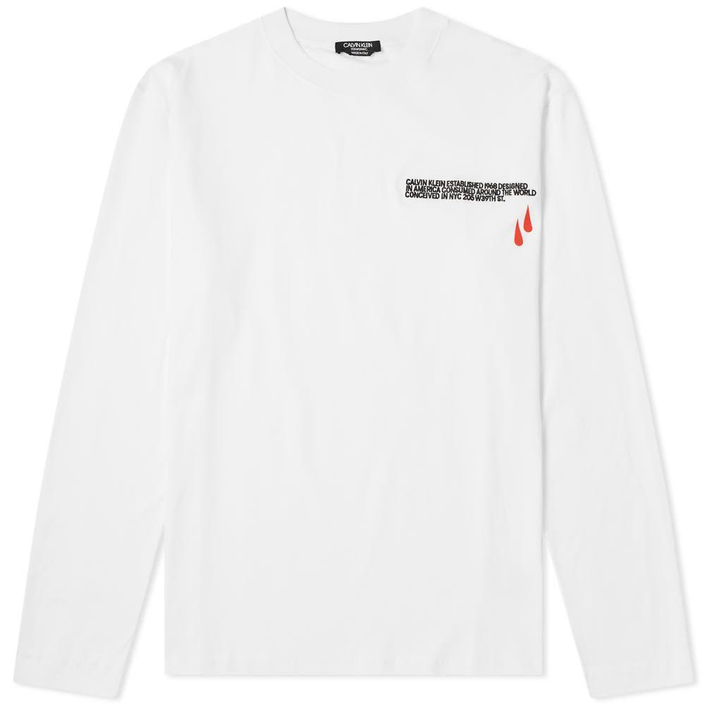 カルバンクライン Calvin Klein 205W39NYC メンズ 長袖Tシャツ ロゴTシャツ トップス【long sleeve logo blood embroidered tee】Optic White