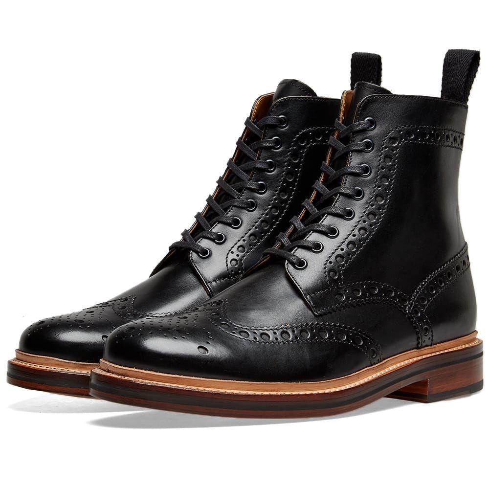 グレンソン Grenson メンズ シューズ・靴 ブーツ【Fred Brogue Boot】Black Calf