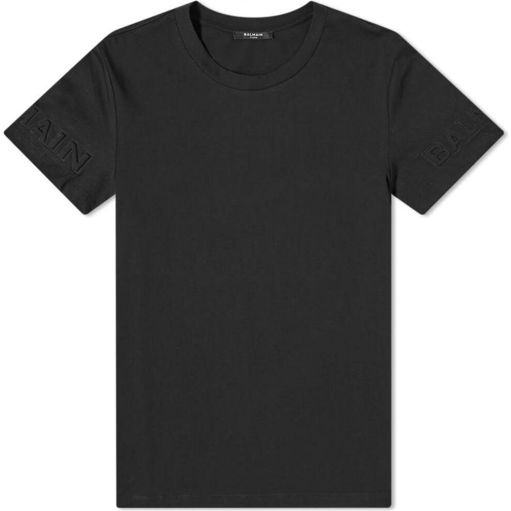 バルマン Balmain メンズ Tシャツ トップス【embossed sleeve tee】Black