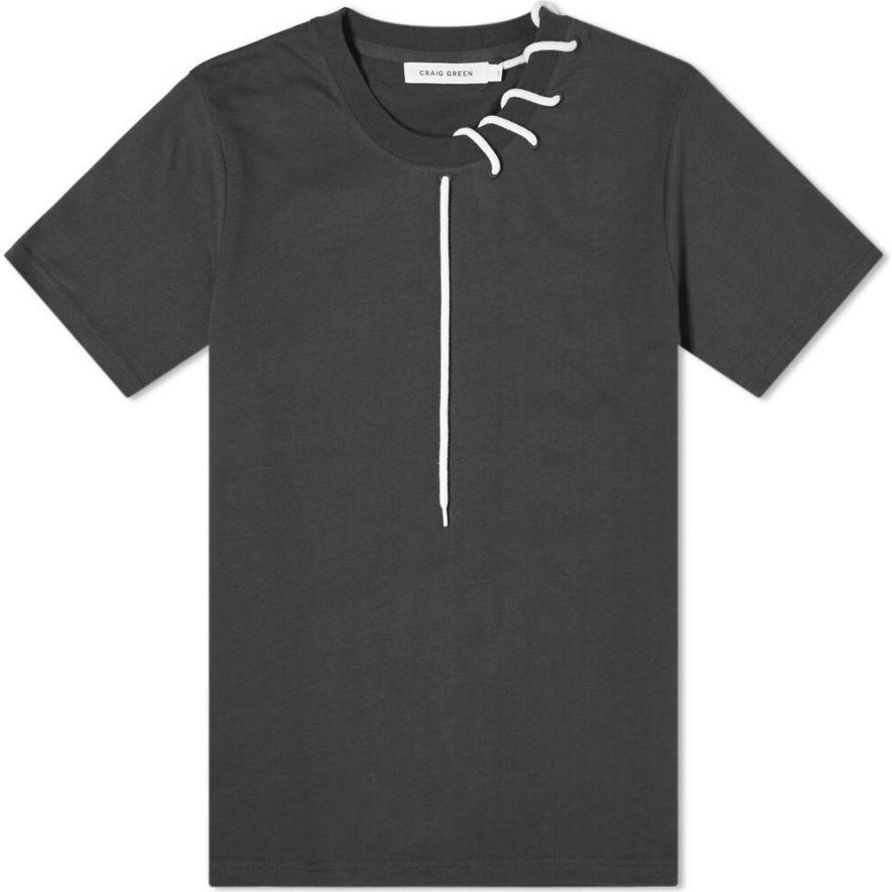 クレイググリーン Craig Green メンズ Tシャツ トップス【laced tee】Black/Cream