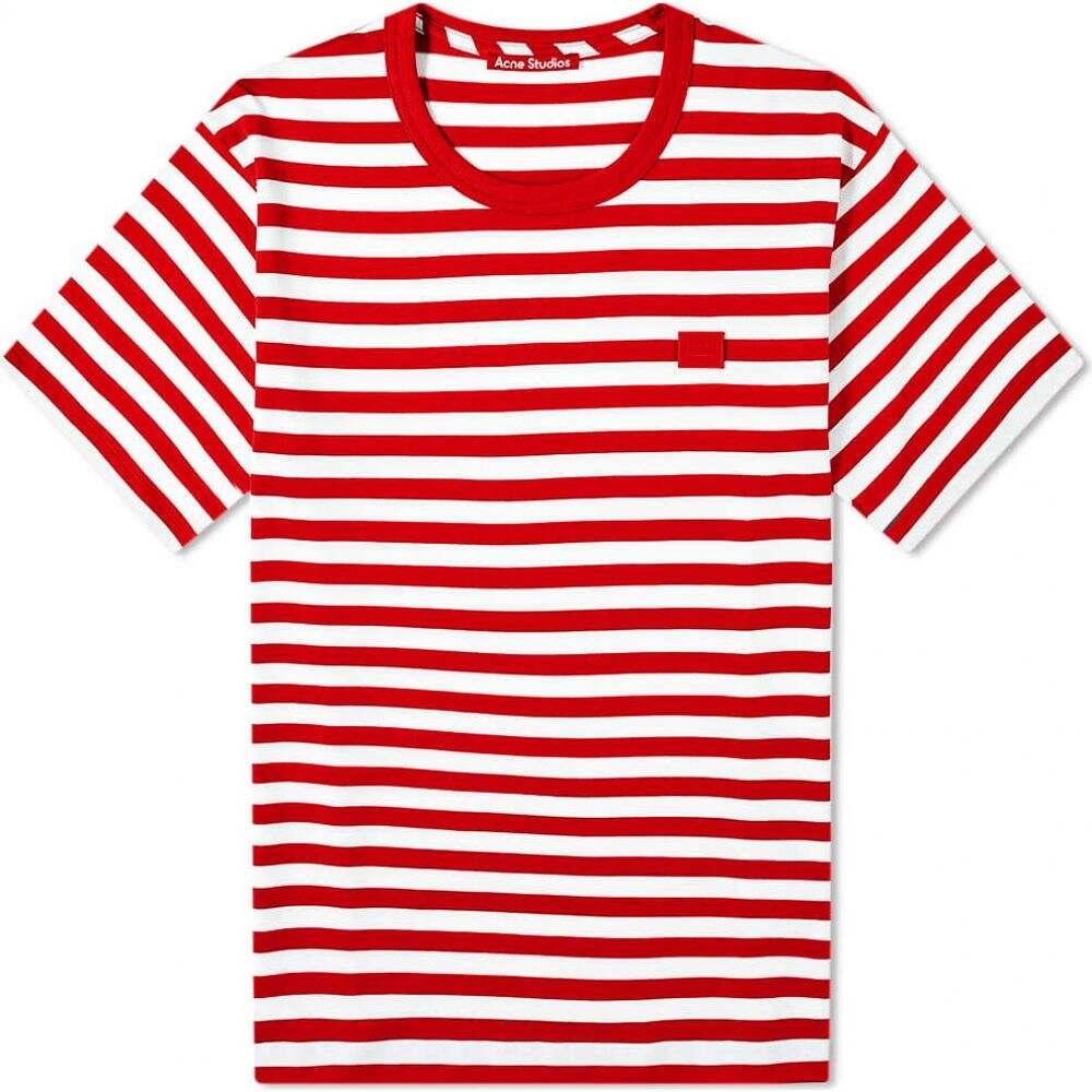 アクネ ストゥディオズ Acne Studios メンズ Tシャツ トップス【nash stripe face tee】Cherry Red