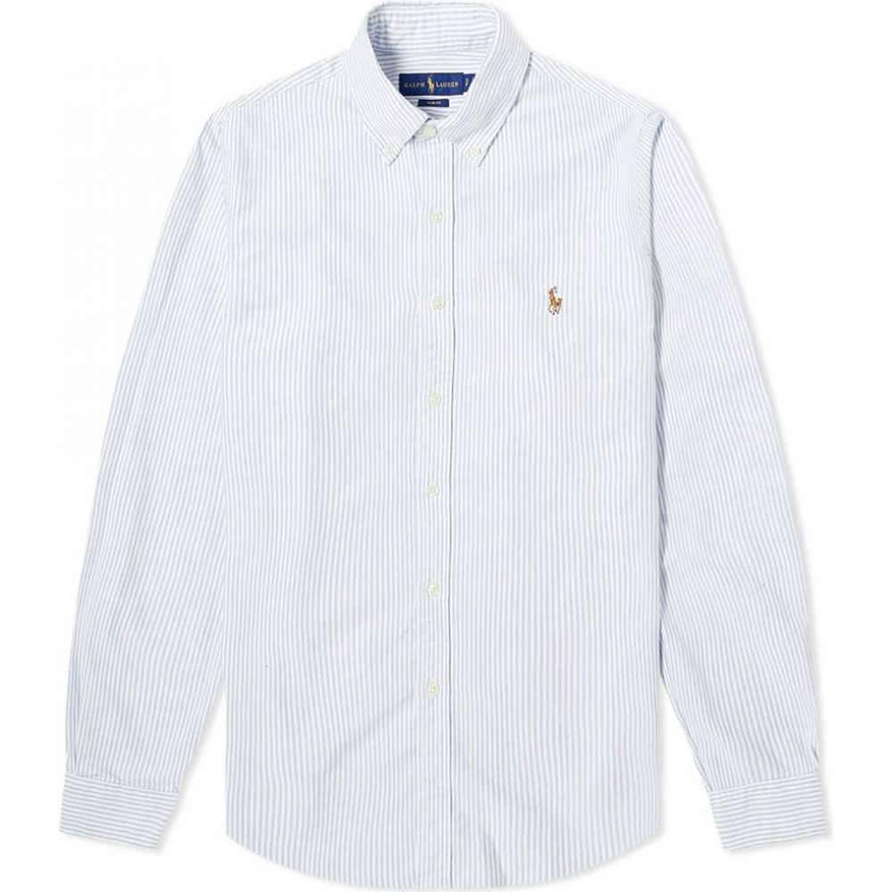 ラルフ ローレン Polo Ralph Lauren メンズ シャツ トップス【slim fit button down stripe oxford shirt】Blue/White